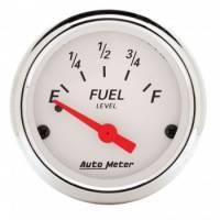 "Gauges - Fuel Level Gauges - Auto Meter - Auto Meter 2-1/16"" Artic White Fuel Gauge - 0-30 Ohms"