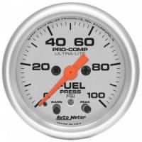 "Analog Gauges - Fuel Pressure Gauges - Auto Meter - Auto Meter 2-1/16"" Ultra-Lite Fuel Press Gauge - 0-100 PSI"