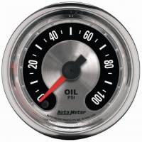 "Oil Pressure Gauges - Electric Oil Pressure Gauges - Auto Meter - Auto Meter 2-1/16"" American Muscle Oil Pressure Gauge - 0-100 PSI"