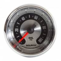 "Oil Pressure Gauges - Mechanical Oil Pressure Gauges - Auto Meter - Auto Meter 2-1/16"" American Muscle Oil Pressure Gauge - 0-100 PSI"