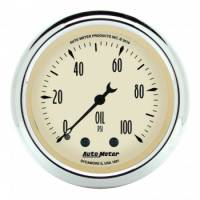 "Analog Gauges - Oil Pressure Gauges - Auto Meter - Auto Meter 2-1/16"" Antique Beige Oil Pressure Gauge - 0-100 PSI"