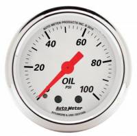 "Oil Pressure Gauges - Electric Oil Pressure Gauges - Auto Meter - Auto Meter 2-1/16"" Artic White Oil Pressure Gauge - 0-100 PSI"