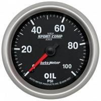 "Oil Pressure Gauges - Electric Oil Pressure Gauges - Auto Meter - Auto Meter 2-5/8"" Sport Comp II Oil Pressure Gauge - 0-100 PSI"
