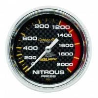 Nitrous Oxide System Components - Nitrous Oxide Pressure Gauge - Auto Meter - Auto Meter Carbon Fiber Mechanical Nitrous Pressure Gauge - 2-5/8 in.