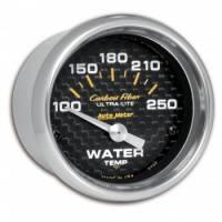 "Water Temp Gauges - Electric Water Temp Gauges - Auto Meter - Auto Meter Carbon Fiber Electric Water Temperature Gauge - 2-1/16"" - 100°-250° F"