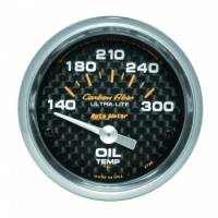 "Oil Temp Gauges - Electric Oil Temp Gauges - Auto Meter - Auto Meter Carbon Fiber Electric Oil Temperature Gauge - 2-1/16"" - 140°-300° F"