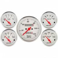 Gauges & Dash Panels - Gauge Kits - Analog - Auto Meter - Auto Meter Arctic White Street Rod Kit - Includes 3-1/8 in. 120 MPH Mechanical Speedometer