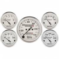 Gauge Kits - Analog Gauge Kits - Auto Meter - Auto Meter Old Tyme White Street Rod Kit - Includes 3-1/8 in. 120 MPH Mechanical Speedometer