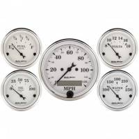 Gauge Kits - Analog Gauge Kits - Auto Meter - Auto Meter Old Tyme White Street Rod Kit - Includes 3-1/8 in. 120 MPH Electric Speedometer