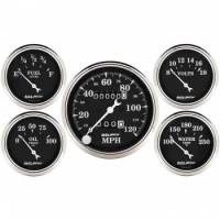 Gauge Kits - Analog Gauge Kits - Auto Meter - Auto Meter Old Tyme Black Street Rod Kit - Includes 3-1/8 in. 120 MPH Mechanical Speedometer