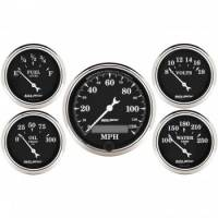 Gauge Kits - Analog Gauge Kits - Auto Meter - Auto Meter Old Tyme Black Street Rod Kit - Includes 3-1/8 in. 120 MPH Electric Speedometer