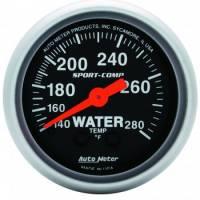 """Gauges - Water Temp Gauges - Auto Meter - Auto Meter 2-1/16"""" Mini Sport-Comp Electric Water Temperature Gauge - 140°-280°"""