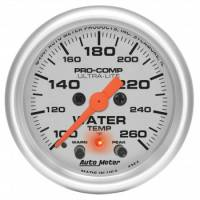 "Water Temp Gauges - Electric Water Temp Gauges - Auto Meter - Auto Meter 2-1/16"" Ultra-Lite Electric Water Temperature Gauge w/ Peak Memory & Warning - 100-260°"