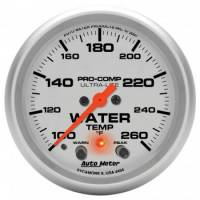 "Water Temp Gauges - Electric Water Temp Gauges - Auto Meter - Auto Meter 2-5/8"" Ultra-Lite Electric Water Temperature Gauge w/ Peak Memory & Warning - 100-260°"
