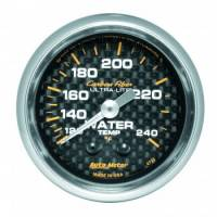 "Water Temp Gauges - Mechanical Water Temp Gauges - Auto Meter - Auto Meter Carbon Fiber Water Temperature Gauge - 2-1/16"" - 120°-240° F"
