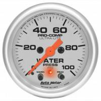 "Water Pressure Gauges - Electric Water Pressure Gauges - Auto Meter - Auto Meter 2-1/16"" Ultra-Lite Electric Water Pressure Gauge w/ Peak Memory & Warning - 0-100 PSI"