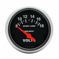 "Gauges - Voltmeters - Auto Meter - Auto Meter 2-1/16"" Mini Sport Comp Voltmeter Gauge - 8-18 Volts"