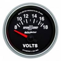 """Gauges - Voltmeters - Auto Meter - Auto Meter 2-1/16"""" Sport Comp II Voltmeter - Electric - 8-18 Volts"""