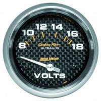 "Analog Gauges - Voltmeters - Auto Meter - Auto Meter Carbon Fiber Electric Voltmeter Gauge - 2-5/8"" - 8-18 Volts"