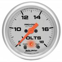 "Analog Gauges - Voltmeters - Auto Meter - Auto Meter 2-1/16"" Ultra-Lite Electric Volt Gauge w/ Peak Memory & Warning - 8-18 Volts"