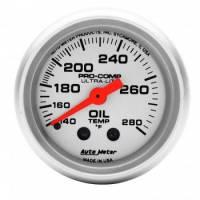 """Analog Gauges - Oil Temperature Gauges - Auto Meter - Auto Meter Mini Ultra-Lite Oil Temperature Gauge - 2-1/16"""" - 140°-280°"""