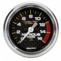 Nitrous Oxide System Components - Nitrous Oxide Pressure Gauge - Auto Meter - Auto Meter Carbon Fiber Electric Nitrous Pressure Gauge - 2-1/16 in.