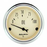 Oil Pressure Gauges - Electric Oil Pressure Gauges - Auto Meter - Auto Meter Antique Beige Oil Pressure Gauge - 2-1/16""