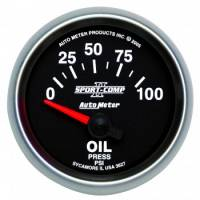 "Oil Pressure Gauges - Electric Oil Pressure Gauges - Auto Meter - Auto Meter 2-1/16"" Sport-Comp II Electric Oil Pressure Gauge - 0-100 PSI"