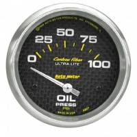 "Gauges - Oil Pressure Gauges - Auto Meter - Auto Meter Carbon Fiber Electric Oil Pressure Gauge - 2-5/8"" - 0-100 PSI"