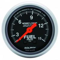 "Fuel Pressure Gauges - Mechanical Fuel Pressure Gauges - Auto Meter - Auto Meter 2-1/16"" Mini Sport-Comp Fuel Pressure Gauge - 0-15 PSI"