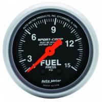 "Analog Gauges - Fuel Pressure Gauges - Auto Meter - Auto Meter 2-1/16"" Mini Sport-Comp Fuel Pressure Gauge - 0-15 PSI"