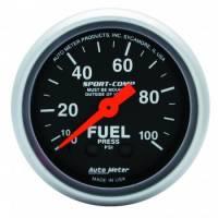 "Analog Gauges - Fuel Pressure Gauges - Auto Meter - Auto Meter 2-1/16"" Mini Sport-Comp Fuel Pressure Gauge - 0-100 PSI"