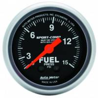 "Fuel Pressure Gauges - Mechanical Fuel Pressure Gauges - Auto Meter - Auto Meter 2-1/16"" Mini Sport-Comp Fuel Pressure Gauge w/ Isolator - 0-15 PSI"