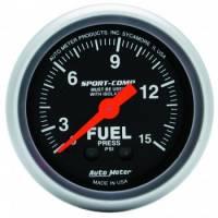 "Analog Gauges - Fuel Pressure Gauges - Auto Meter - Auto Meter 2-1/16"" Mini Sport-Comp Fuel Pressure Gauge w/ Isolator - 0-15 PSI"