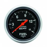Fuel Pressure Gauges - Mechanical Fuel Pressure Gauges - Auto Meter - Auto Meter 1-15 PSI Sport-Comp Fuel Pressure Gauge - 2-5/8""