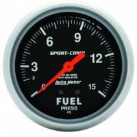 "Analog Gauges - Fuel Pressure Gauges - Auto Meter - Auto Meter 1-15 PSI Sport-Comp Fuel Pressure Gauge w/ Isolator - 2-5/8"""