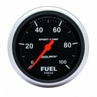"Fuel Pressure Gauges - Electric Fuel Pressure Gauges - Auto Meter - Auto Meter Sport-Comp Electric Fuel Pressure Gauge - 2-5/8"""