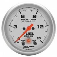 "Fuel Pressure Gauges - Electric Fuel Pressure Gauges - Auto Meter - Auto Meter 2-5/8"" Ultra-Lite Electric Fuel Pressure Gauge w/ Peak Memory & Warning - 0-15 PSI"