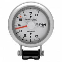 "Standard Tachometers - Pedestal Standard Tachs - Auto Meter - Auto Meter 8,000 RPM Sport-Comp Silver Tachometer - 3-3/4"""