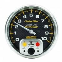 "Analog Gauges - Tachometers - Auto Meter - Auto Meter 10,000 RPM Carbon Fiber 5"" In-Dash Memory Tachometer w/ Peak RPM Memory"