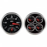 Gauges & Dash Panels - Gauge Kits - Analog - Auto Meter - Auto Meter Designer Black II Quad Gauge / Tach / Speedometer Kit - 5 in.