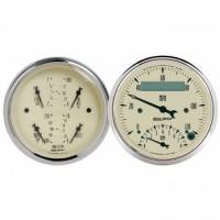 Gauges & Dash Panels - Gauge Kits - Analog - Auto Meter - Auto Meter Antique Beige Quad Gauge / Tachometer / Speedometer Kit - 3-3/8 in.