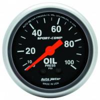 "Analog Gauges - Oil Pressure Gauges - Auto Meter - Auto Meter 2-1/16"" Mini Sport-Comp Oil Pressure Gauge - 0-100 PSI"