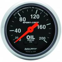 "Analog Gauges - Oil Pressure Gauges - Auto Meter - Auto Meter 2-1/16"" Mini Sport-Comp Oil Pressure Gauge - 0-200 PSI"
