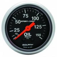 "Analog Gauges - Oil Pressure Gauges - Auto Meter - Auto Meter 2-1/16"" Mini Sport-Comp Oil Pressure Gauge - 0-150 PSI"