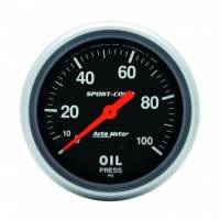 Analog Gauges - Oil Pressure Gauges - Auto Meter - Auto Meter 0-100 PSI Sport-Comp Oil Pressure Gauge - 2-5/8""