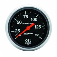 Analog Gauges - Oil Pressure Gauges - Auto Meter - Auto Meter 0-150 PSI Sport-Comp Oil Pressure Gauge - 2-5/8""