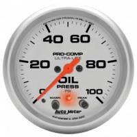 "Oil Pressure Gauges - Electric Oil Pressure Gauges - Auto Meter - Auto Meter 2-5/8"" Ultra-Lite Electric Oil Pressure Gauge w/ Peak Memory & Warning - 0-100 PSI"