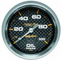"Oil Pressure Gauges - Mechanical Oil Pressure Gauges - Auto Meter - Auto Meter Carbon Fiber Oil Pressure Gauge - 2-5/8"" - 0-100 PSI"