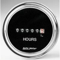 Gauges - Hourmeters - Auto Meter - Auto Meter Traditional Chrome Electric Hourmeter Gauge - 2-1/16 in.